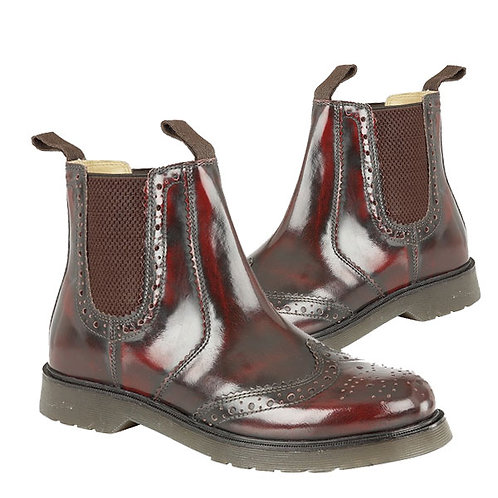 Mens and Ladies Oxblood Hi Shine Leather Brogue Gusset Boots