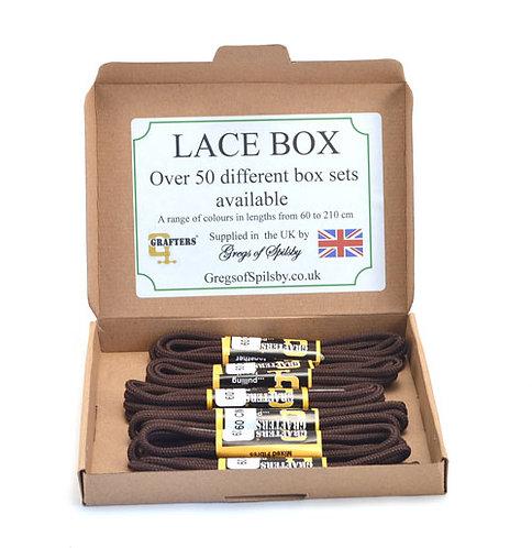 Lace Box of 5 Pair Brown 60 cm Shoe Laces