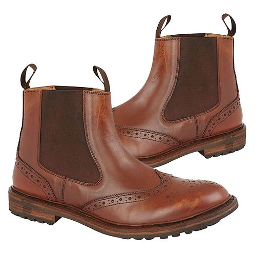 Mens Burnished Leather  Brogue Dealer Boots