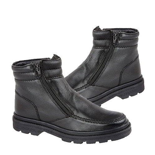 Mens Black Leather Twin Zip Thermal Lined Boots