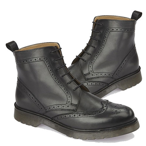 Mens Black Leather Brogue Gusset lace Up Boots