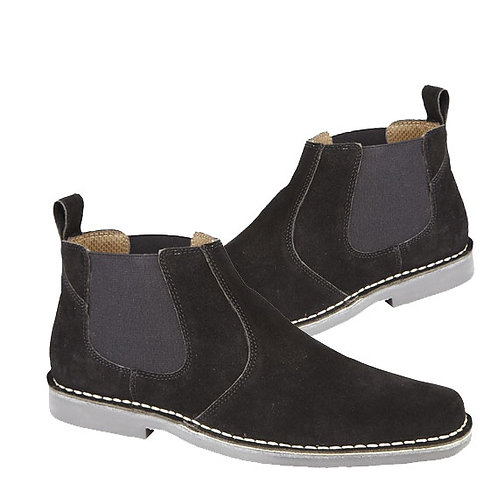 Mens Real Black Suede Twin Gusset Boots
