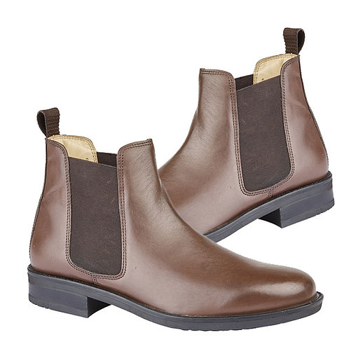 Mens Brown Leather Twin Gusset Boots