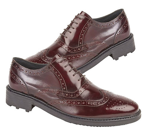 Mens Hi Shine Oxblood Leather Brogue Shoes