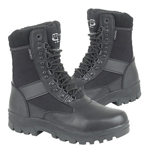 Mens and Ladies Black Leather / Nylon Waterproof Boots