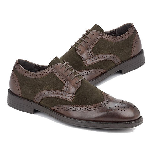 Two Tone Suede and Leather Brogue Shoes