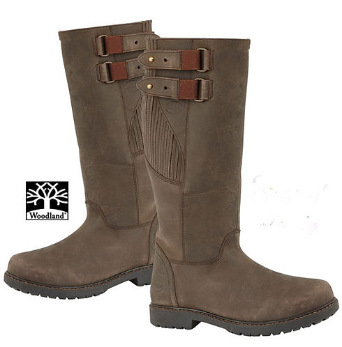 Mens Woodland Waxy Brown Leather Waterproof Country Boots