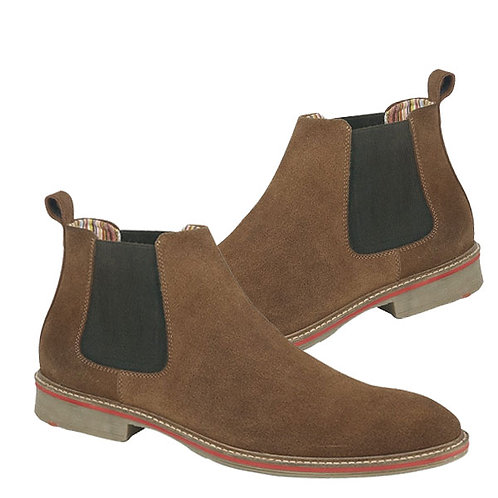 Mens Real Suede Brown Twin Gusset Boots
