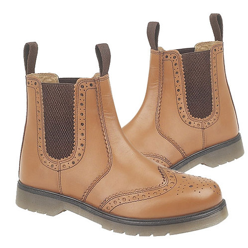 Mens and Ladies Tan Leather Brogue Gusset Boots