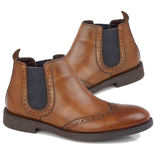 Chestnut Leather Brogue Chelsea Boots