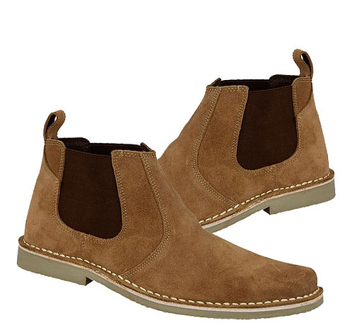 Mens Real Taupe Suede Twin Gusset Boots