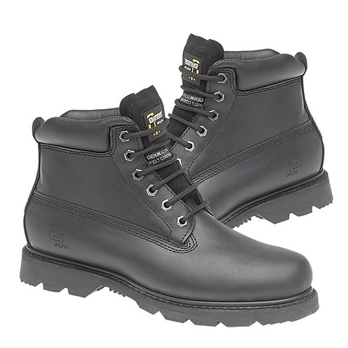 Mens Black Leather Utility Work Boots