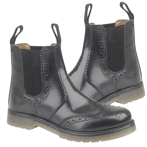 Mens and Ladies Black Leather Brogue Gusset Boots