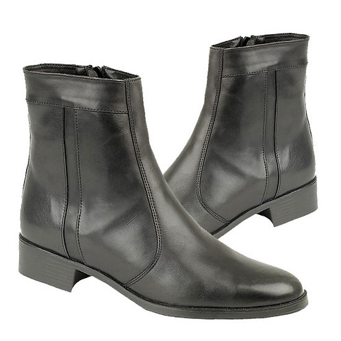 Mens Black Leather Side Zip Boots