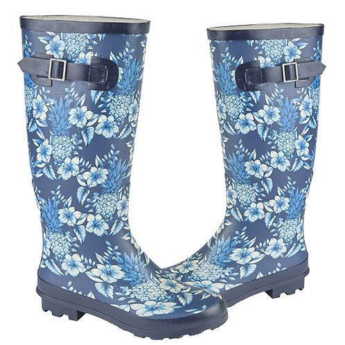 Woodland Ladies Navy Blue Printed Wellington Boots