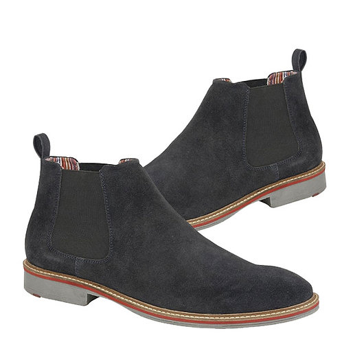 Mens Real Blue Suede Twin Gusset Boots