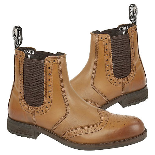 Tan Burnished Softie Leather Brogue Boots