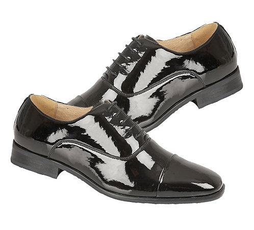 Mens Patent Leather Toe Cap Oxford Lace Shoes