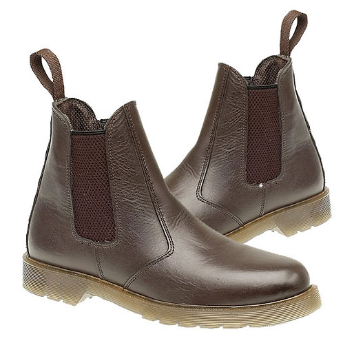 Dark Brown Leather Dealer Boots With Air Wair Soles