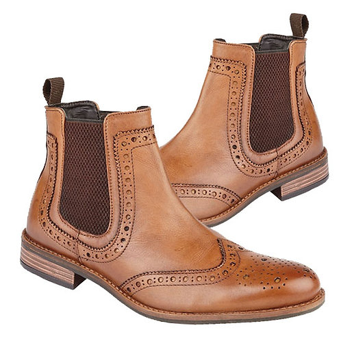 Tan Leather Brogue Boots By Roamers
