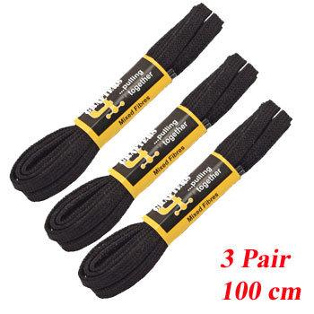 3  PR 100 cm Black Trainer Laces