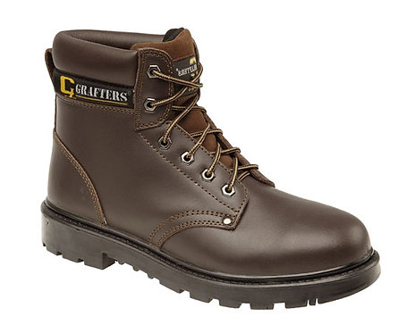 Mens/Ladies Brown Leather Safety Boots