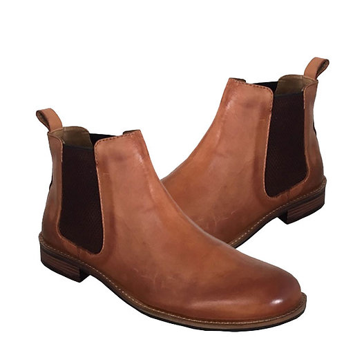 Mens Tan Leather Twin Gusset Boots