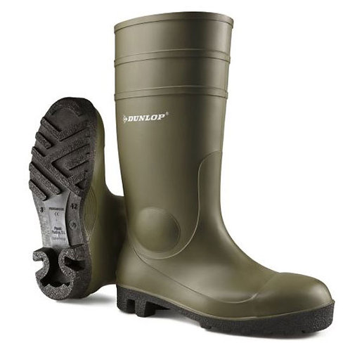 Dunlop Ladies / Mens Green Protomaster Full Safety Wellingtons