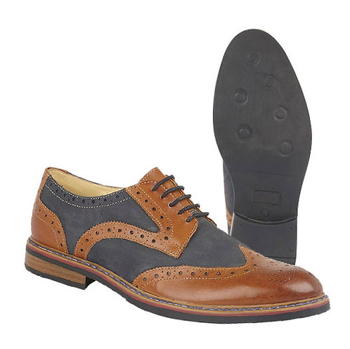Mens Nubuck Tan and Navy Leather Brogue Shoes