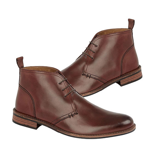 Mens Brown Leather 3 Eye Desert Boots