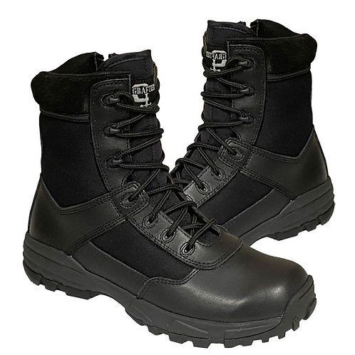 Ladies / Mens Black Leather/Nylon Inside Zip Combat Utility Boot