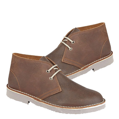 Ladies, Boys Mens Brown Distressed Leather Desert Boots Twin Gusset Boots