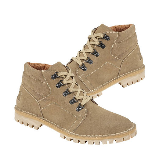 Mens Taupe Leather Suede D Ring Leisure Boots