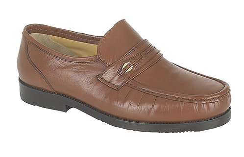 Mens Brown Leather Wide fit Moccasin Style Casual Shoe  Size 9