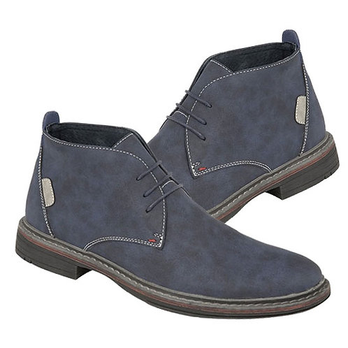 Blue Imt Nubuck Leather 3 Eye Ankle Boots
