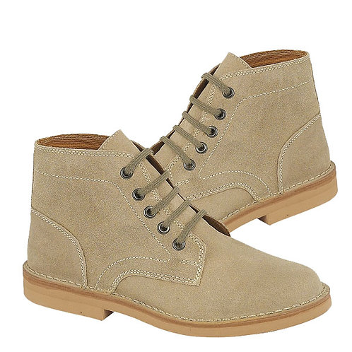 Mens Taupe Leather Suede 5 Eye Leisure Boots