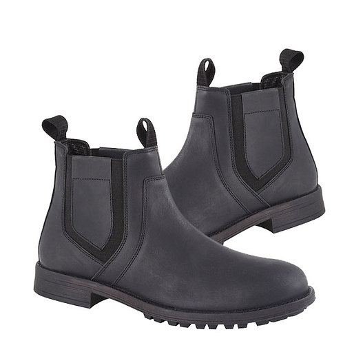 Mens Black Crazy Horse  Leather Twin Gusset Boots