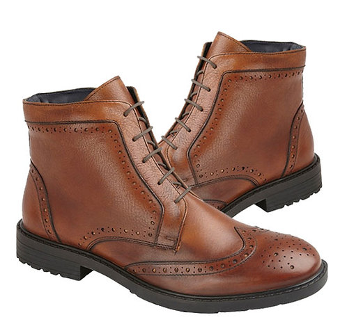 Tan Leather Derby Brogue Boots