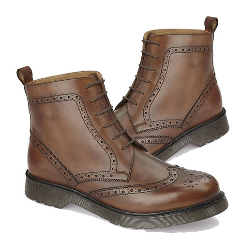 Mens Brown Leather Brogue Gusset lace Up Boots