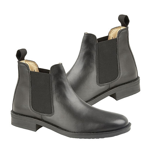 Mens BlackLeather Twin Gusset Boots