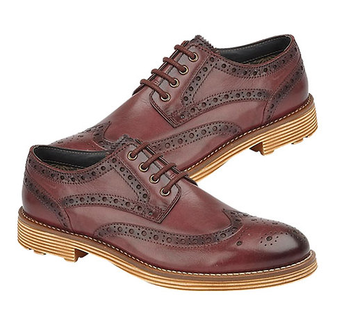 Mens Oxblood Burnished Leather Brogue Shoes