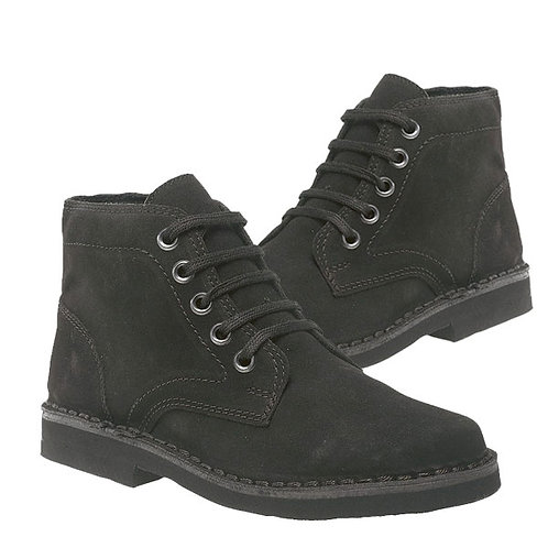 Mens Black Leather Suede 5 Eye Leisure Boots