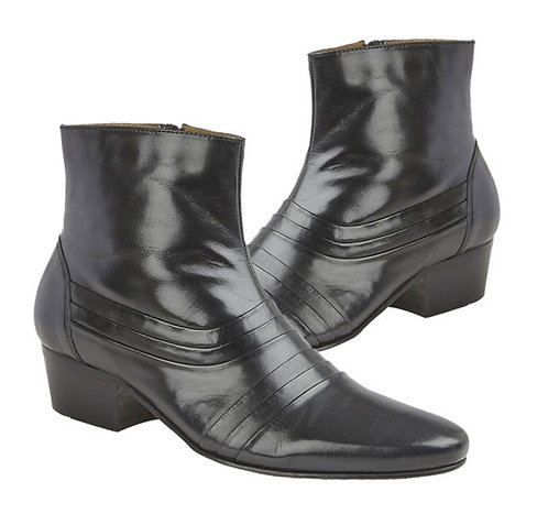 Black LeatherZip Up Mens Boots