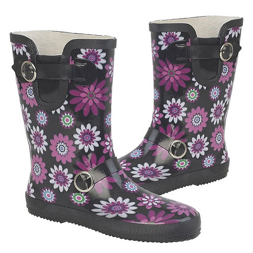 Stormwells Ladies Floral Pattern Ankle Wellington Boots