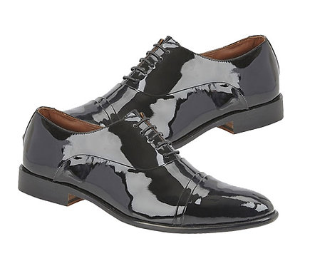 Mens Patent Leather Toe Cap Oxford Shoes