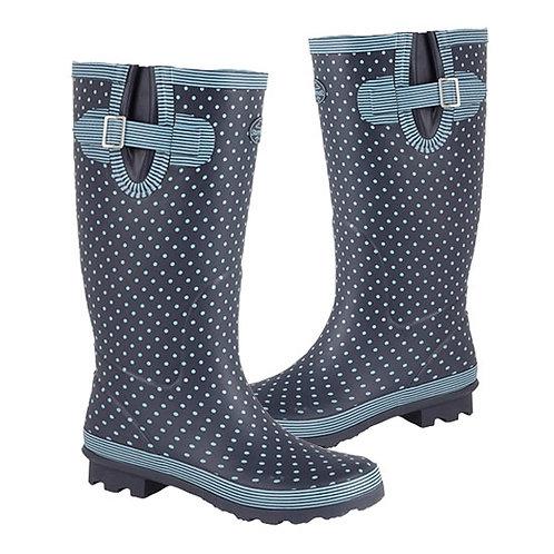 Stormwells Ladies Wide Calf Polka Dot Gusset Wellington Boots