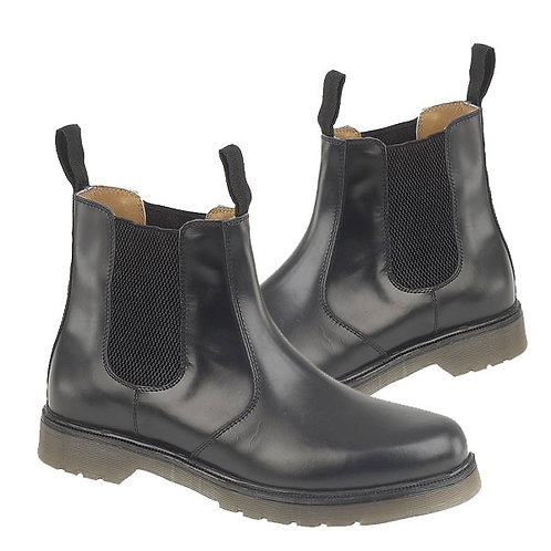 Mens / Ladies Black Leather Chelsea Boots With Air Wair Soles