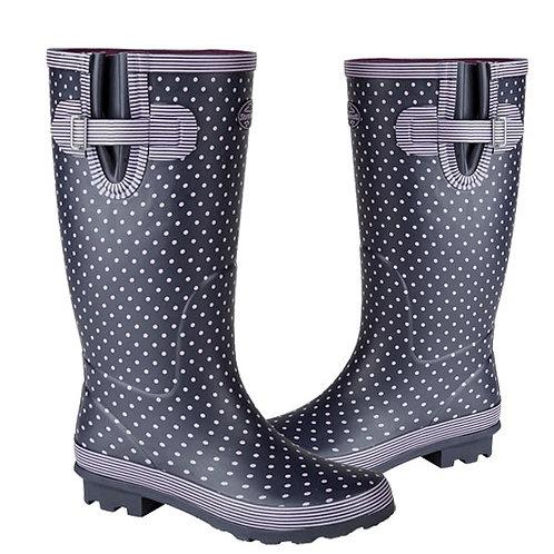 Stormwells Mauve Ladies Wide Calf Polka Dot Gusset Wellington Boots