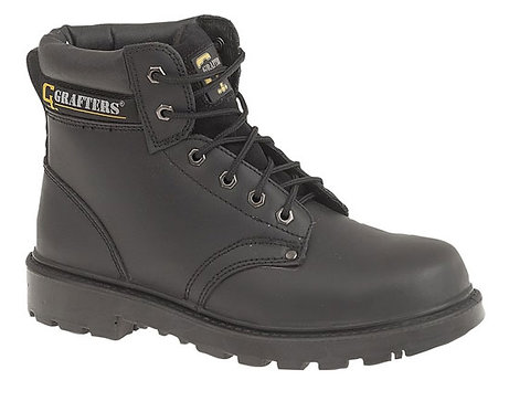 Mens/Ladies Black Leather Safety Boots