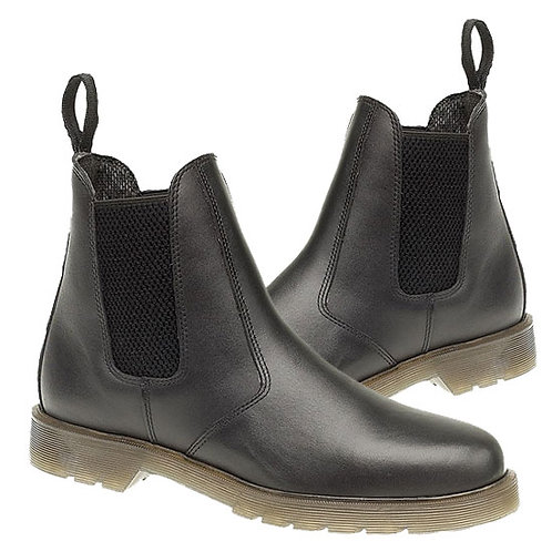 Black Leather Dealer Boots With Air Wair Soles